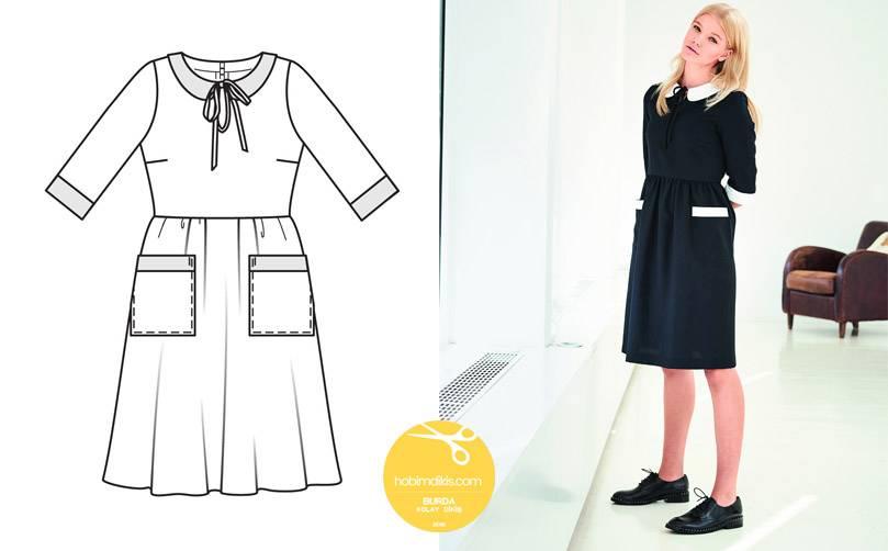 2f3334b98fef9 ... 2016 Sonbahar/Kış. Haftasonu Elbisesi – Siyahla beyazın mükemmel uyumu.  Kumaş Önerisi, İnce kendinden çizgili kumaş. Garnitür için beyaz pike